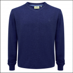Hoggs of Fife Sterling Cotton V Neck Jumper Navy Denim 1