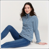Joules Saunton Saltwash Classic Sweatshirt Blue-Cream Stripe 3