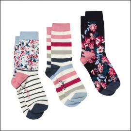Joules Brilliant Bamboo Ladies Socks (3pk) Blue Multi Floral 1