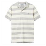 Joules Filbert Short Sleeve Polo Shirt Grey-Cream Stripe 1