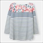 Joules Harbour Light Print Jersey Top Cream-Blue Floral Border 1