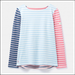 Joules Harbour Long Sleeve Jersey Top Blue-Cream Stripe 1