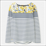 Joules Harbour Print Long Sleeve Jersey Top Cream-Blue Floral 1