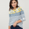 Joules Harbour Print Long Sleeve Jersey Top Cream-Blue Floral 2