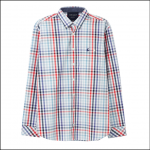 Joules Hewney Peached Poplin Shirt Red-Blue Check 1