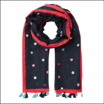 Joules Newheaven Scarf with Tassels Navy-Spot