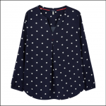 Joules Rosamund V Neck Woven Top Navy Spot 1