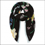 Joules Rowen Square Scarf Black Floral 1