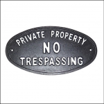 Ascalon Cast Iron 'No Trespassing' Sign