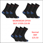 Dickies Strong Work Socks (3 Pairs Size 7-11)