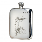 Bisley 6oz Shooter & Dog Pewter Flask 1