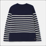 Joules Valencia Knitted Ripple Stitch Jumper Navy-Multi-Stripe