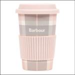 Barbour Pink-Grey Tartan Reusable Travel Mug 1