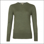 Barbour Ridley Ladies Merino Knit Sweater Olive 1