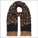 Joules Elissa Jacquard Scarf Brown-Navy Leopard 1