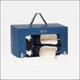 Joules Slipper & Sock Gift Set Navy Hare 1