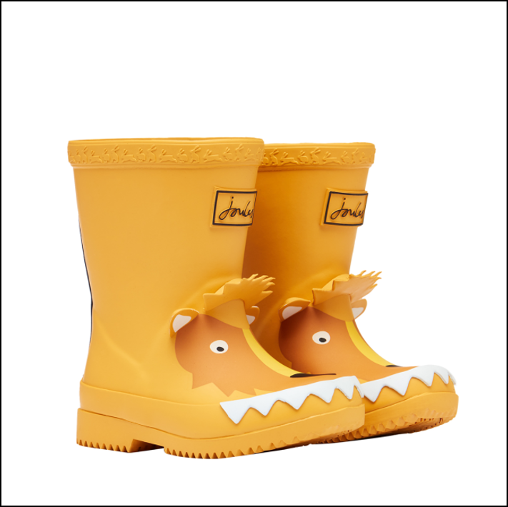 Joules Baby Printed 3D Wellies Gold Lion 1