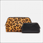 Joules Peplow Leather Two Pack Cosmetic Purses Black 1