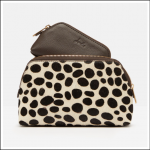 Joules Peplow Leather Two Pack Cosmetic Purses Chocolate 1