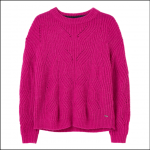 Joules Clover Fluffy Pontielle Jumper Ruby Pink 1