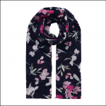 Joules Julianne Wool Scarf Navy-Pink Floral 1