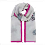 Joules Julianne Wool Scarf Silver Pheasants 1