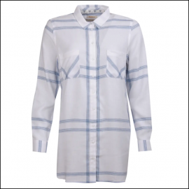 Barbour Baymouth Ladies Dress Shirt White Breeze Blue 1