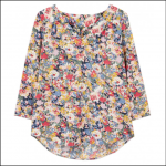 Joules Briella V Neck Long Sleeve Top Blue Floral