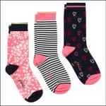 Joules Brilliant Bamboo Ladies Socks (3pk) Navy Heart 1
