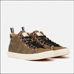 Joules Coast Pump Mid High Top Canvas Trainers Khaki 1