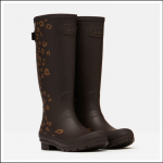 Joules Tall Printed Wellies Brown Leopard Border