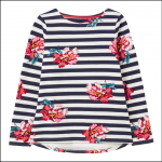 Joules Harbour Print Long Sleeve Jersey Top Cream Floral 1