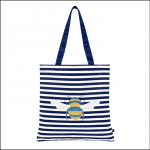 Joules Lulu Canvas Tote Bag Cream Bee Stripe 1