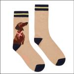 Joules Bamboo Ladies Socks Oat Sausage Dog 1