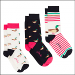 Joules Brilliant Bamboo Ladies Socks (3pk) Cream Ducks 1