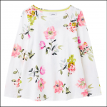 Joules Harbour Light Swing Jersey Top Cream Floral 1