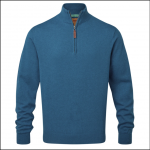 Schoffel Pima Cotton Qtr Zip Jumper Mykonos Blue 1