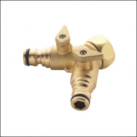 """Spear & Jackson 3/4"""" Two Way Brass Tap Connector"""