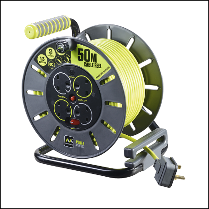 Masterplug Pro-XT 13A Open Cable Reel 50m 1