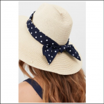 Joules Sia Scarf Fedora Hat Navy-Cream Spots 1