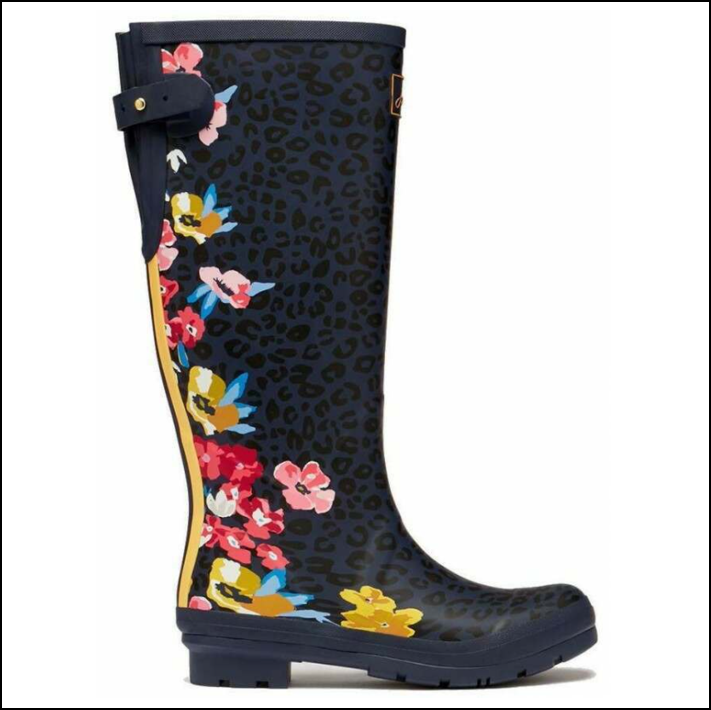 Joules Tall Printed Wellies Navy Floral Leopard 1