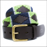Pioneros Polo Belt - Lime, Navy & Grey Stripe 1