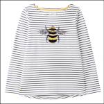 Joules Harbour Luxe Long Sleeve Jersey Top Bee Embellishment 1