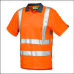Veltuff Class 2 Hi-Vis Ribbed Knit Poloshirt Orange