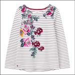 Joules Harbour Print Long Sleeve Placement Top Creme Floral 1