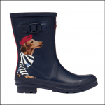 Joules Molly Mid Height Wellies Navy Sausage Dog 1