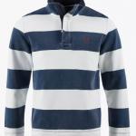 Crew Padstow Pique Wide Stripe Sweatshirt Navy-White 1