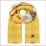 Joules Farnsley Check Jacquard Scarf Gold Bee 1