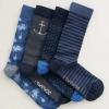 Seasalt Men's Step Into The Blue Box 'O'4 Socks Salt Laden Mix 2
