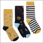 Joules Brilliant Bamboo Ladies Socks (3pk) Gold Bee 1